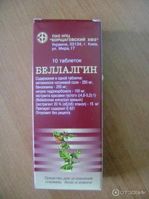 Побічні дії Беллалгіна
